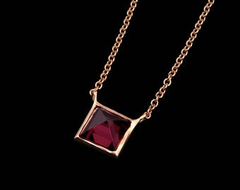 Rhodolite Pyramid Necklace