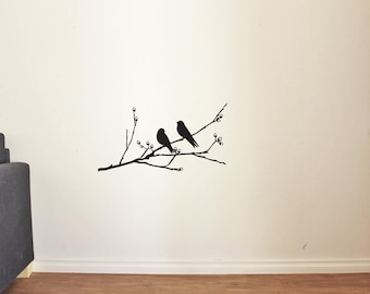 Wall Decals Two Lovely Birds Sitting on a Branch Tree Vinyl Decor Stickers MK0005