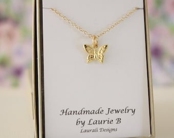 Butterfly Charm Necklace, Friendship Gift, Gold, Bestie Gift, Gold Butterfly Charm, Thank you card, Yellow Butterfly, Bug Charm
