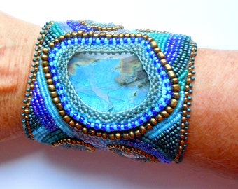 Bead embroidered cuff with Large Labradorite centre stone and smaller turquiose