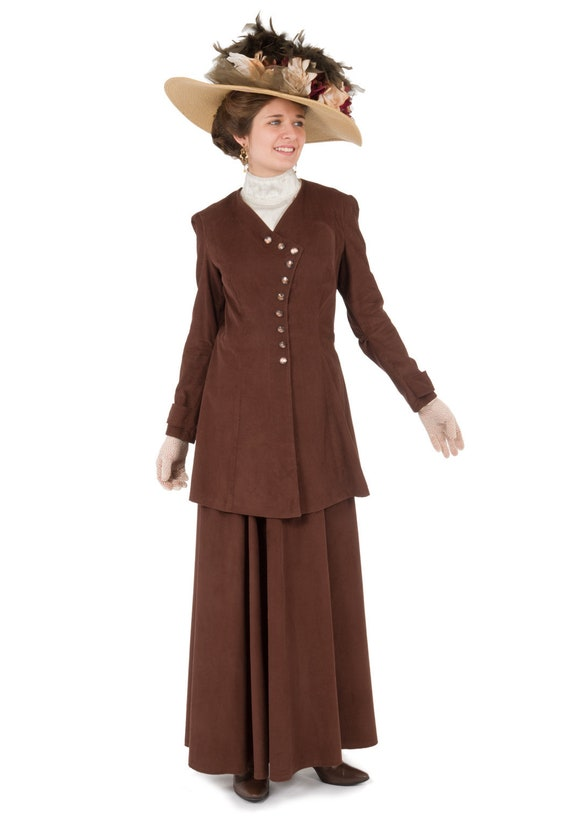 1900 Edwardian Dresses, Tea Party Dresses, White Lace Dresses Sienna Edwardian Corduroy Suit $188.00 AT vintagedancer.com