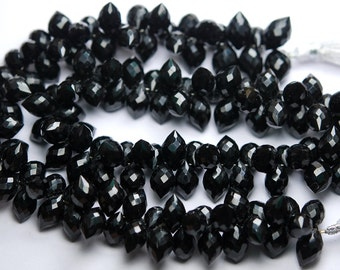 20 Pcs,Super Finest,Black Onyx Faceted Dew Drops Briolettes 12-13mm Large Size