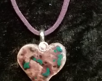 "Small Dark Plum Heart Shaped Textured Ceramic Pendant- Swarovski Crystal Accent- Silver Bail- 18"" Suede Cord - Handmade Ceramic Pendant"