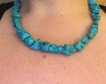 Simple turquoise necklace, chunky turquoise necklace, turquoise bed necklace