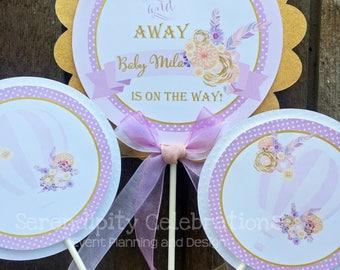 3 piece centerpiece set, Hot Air Balloon centerpiece, Balloon Centerpiece Set, Birthday Party Centerpiece, Baby Shower Centerpiece, floral