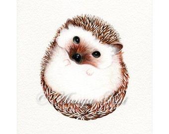 Hedgehog Art Print - Watercolor Woodland Animal Illustration - Modern Realism Wall Decor