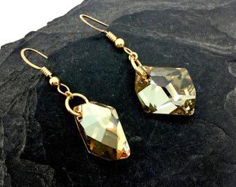 Earrings, Gold Earrings, Swarovski Crystal, Little Black Dress, Holiday Earrings, Earrings for Work, Date Night Jewelry, Crystal Earrings