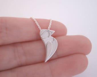 Puffin Bird Necklace Pendant / Silver Puffin Necklace / Modern Sterling Silver Bird Necklace / Stylised Bird / Modern Bird Jewellery