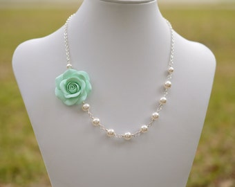 FREE EARRINGS Light Mint Green Rose and Pearls Necklace, Mint Flower Necklace, Mint Green Bridesmaid Necklace, Mint Green Wedding