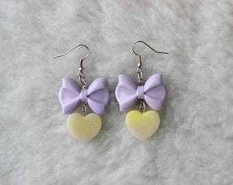 Purple and Yellow Bow Dangling Earrings