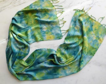 Tie Dye Scarf Green, Yellow and Blue Soft Rayon Scarf with Fringe
