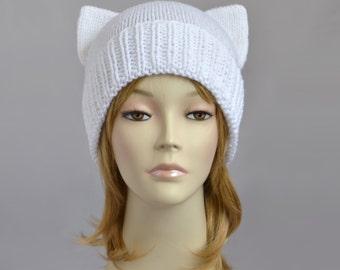 Fairy Kei Cat Hat Knit Cat Ear Hat White Cat Beanie Womens Cat Hat Fairy Kei Beanie Disney Ears Hat Cat Ear Beanie Bonnet Femme Womens Hats