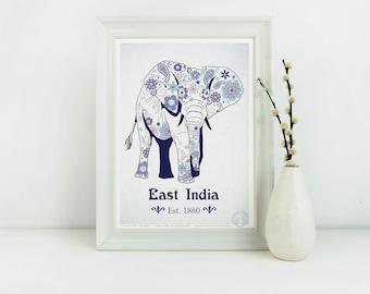 Affiche EAST INDIA  - Poster Elephant, Affiche Inde, Dessin Hippie Chic, Illustration Fleur, Paix - Deco impression, Illustration, Art mural