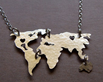 Map necklace etsy world map necklace sterling silver or gold filled world map necklace of the world gumiabroncs Image collections