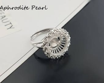 vintage zircon sterling silver ring setting, adjustable ring mounting, Jewelry DIY, gift DIY, heart and arrow zircon