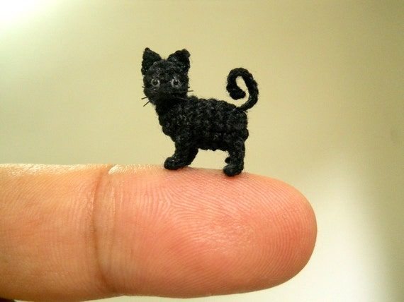 Amigurumi Gato Negro : Miniature black cat 1 2 inch micro mini amigurumi crochet