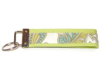 Olive Green and Off White Key Fob, Key Chain, Wristlet