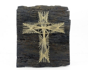 Hand Laid Vintage Old Authentic Elm Wood Nail String Art Cross Hemp Rope  Handmade Christianity Wooden Unique Accessory Office Minimalistic