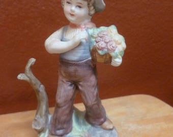 Vintage Enesco Imports Japan Bot with Flower Bouquet figurine