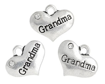 4 Pieces Antique Silver Heart Grandma Charms