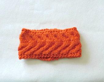 Ready to Ship / Handmade Cableknit Headband in Orange/ Antler Cable Headband / Women's Headband