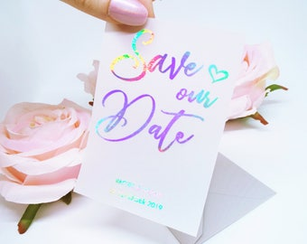 Vellum Transparent Wedding Save the Date. Custom Foil Lettering with matching Envelope. Holographic, Iridescent Save our Date.
