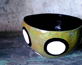 Papier Mache bowl in patina of olive, turquoise and rust