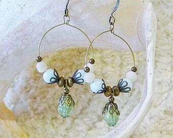 Green Bead Earrings, Antique Brass Beaded Hoop Earrings, Boho, Blue Bead Earrings, Dangle Hoop Earrings, beaded Hoops