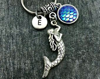 Mermaid keychain, fish scales, dragon scales, Mermaid scales, personalized custom gift uncer 10