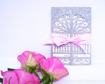 SAMPLE Laser Cut Wedding Invitation. Silver and Pink, Gatefold, Sparkly Princess, Laser cut fairytale wedding invite with matching envelope.