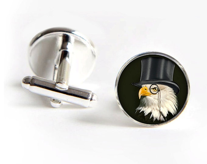 Dandy Eagle Cufflinks steampunk silver 18mm cuff links Gifts for him