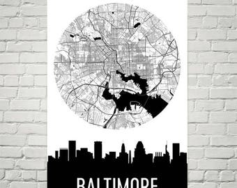 Baltimore Skyline, Baltimore Map, Baltimore Skyline Art, Baltimore Canvas Art, Baltimore City Map, Baltimore MD, Maryland, Print, Poster