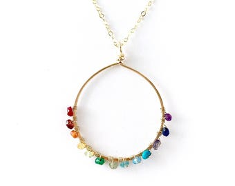 Rainbow Gemstone Gold Hoop Necklace. Open Circle Hoop Pendant Necklace. Round Circle Hammered Colorful Necklace.