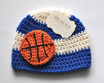Newborn Basketball Hat - Royal Blue, and White Basketball Inspired Beanie