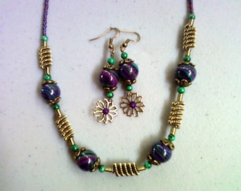 Purple, Green and Fuschia Necklace and Earrings (0113)