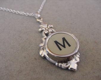 Typewriter key necklace Jewelry Rare Gray Initial M Necklace Typewriter key Initial necklace Initial M Steampunk recycled jewelry