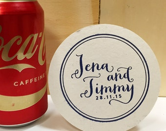 Set of 50 Custom Drink Coasters Script | Wedding or Personalized Home Gift | Darby Cards