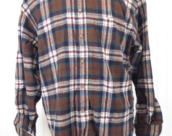Pendleton Plaid Shirt, Men's Size Large, Multicolor Plaid Button Up Long Sleeve Shirt, Made in USA