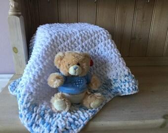 hand crotchet chenille blanket