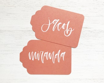 Papaya Handwritten Gift Tags with White Ink Writing for Wedding or Event // Modern Calligraphy Favors, Handwritten Tags, Garden Wedding