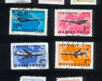 Airplane Postage Stamps from Hungary - Decoupage, Collage, Mixed Media, Crafts, Journals