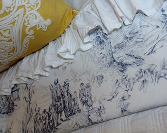 Lovely Blue & White Toile Twin Flat Sheets 100% Cotton 200 ct Tommy Hilfiger Vintage Design