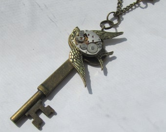 Steampunk Jewelry Bird Key Necklace vintage watch movement Statement Steam Punk Birthday Womens Handmade Gift ideas for Her OOAK