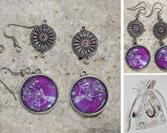 Kit earrings cabochon impression stone semi precious fuchsia