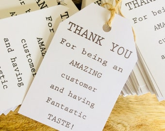 Sellers thank you tags, Paper tags, Packaging idea, Gift tags, Pack of 50/100/150 with twine included