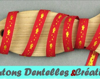 Sailor stripe woven - fish - 7mm - 5 m - (red and yellow-07-03)