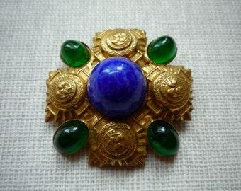 Vintage Richelieu Gold Tone Blue Green Cabochon Brooch Pin