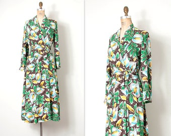 vintage 1940s dressing gown |  40s rayon hawaiian robe dress | aloha wear (small s)