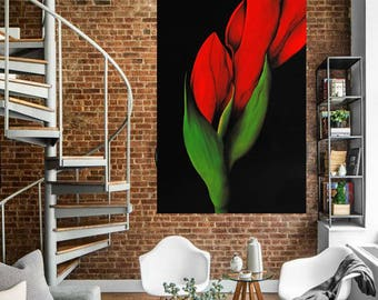Red tulip,contemporary art,oil on canvas,red flower,living,home decor,gift for her,original painting,xxl art,free shipping,wedding gift