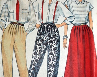 Vintage 1980's  Sewing Pattern Butterick 3343 Pants  and Skirt Size 14-16-18 Waist 28-32 Uncut Complete